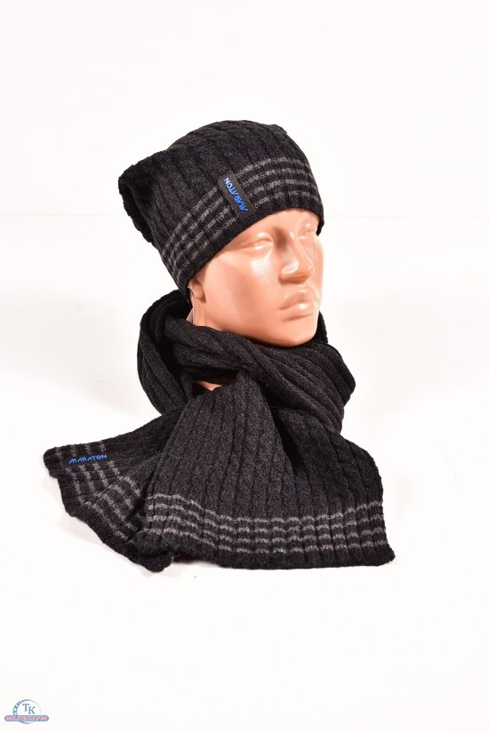 Шапка+шарф вязаный мужской (цв.черный) MARATON (Acryl 90%,Cotton 10%) арт.596-B