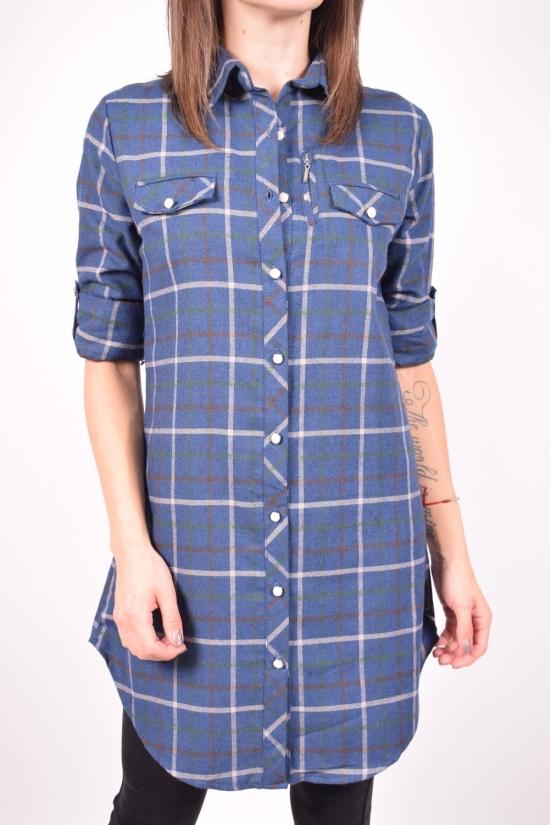 Рубашка-туника женская (цв.т.синий) байковая Madoy Размер в наличии : 40 арт.204