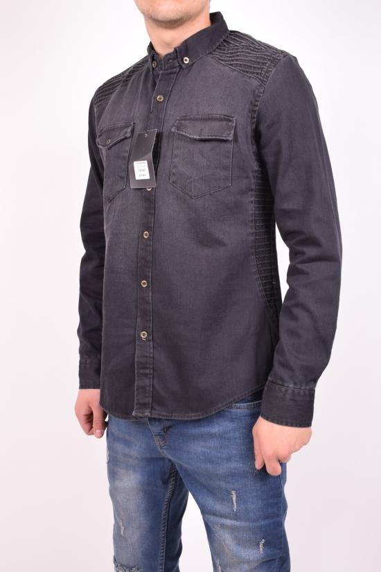 Рубашка мужская джинсовая (цв.черный) TRICKO Размеры в наличии : 42,44,46 арт.9GM-KT-KOT-0044