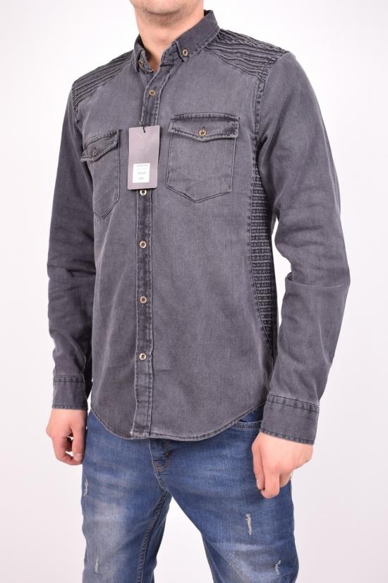 Рубашка мужская джинсовая (цв.т.серый) TRICKO Размеры в наличии : 42,44 арт.9GM-KT-KOT-0044