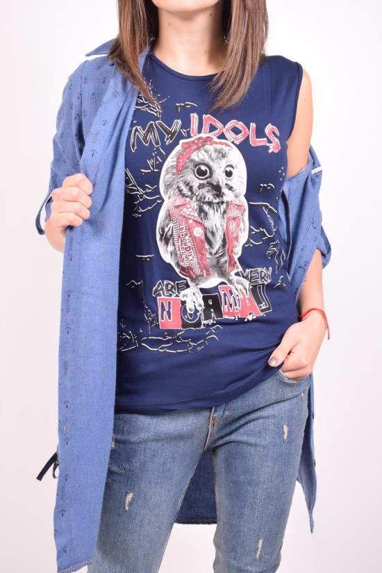 Рубашка-туника женская  (цв.синий) + майка  Rimoda Размеры в наличии : 44,46,48 арт.7411