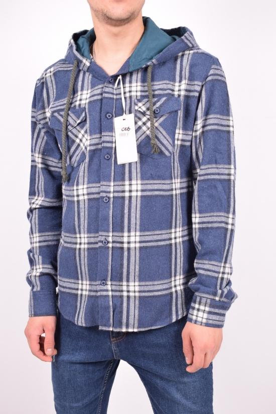 Рубашка мужская с капюшоном (цв.синий) DOFE (97% котон, 3% лукра) Размеры в наличии : 40,42,44 арт.17.09/3