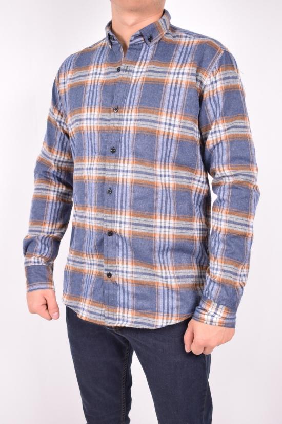 Рубашка мужская байковая (цв.синий/коричневый) YARGI Размеры в наличии : 38,40,42,44,46 арт.10.3