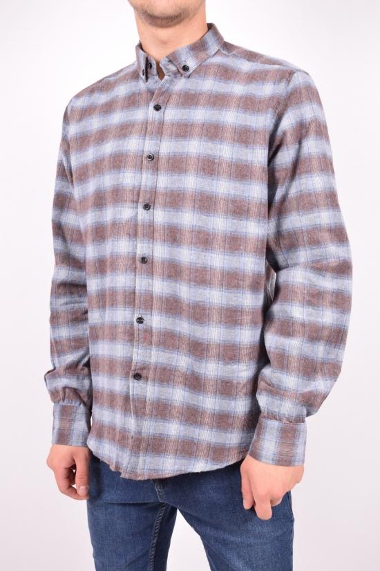 Рубашка мужская байковая (цв.серый/коричневый) YARGI Размеры в наличии : 38,44,46 арт.11.1