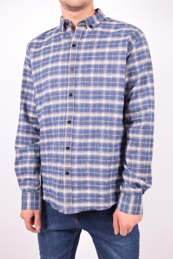 Рубашка мужская байковая (цв.синий) YARGI Размеры в наличии : 38,40,42,44,46 арт.12.1