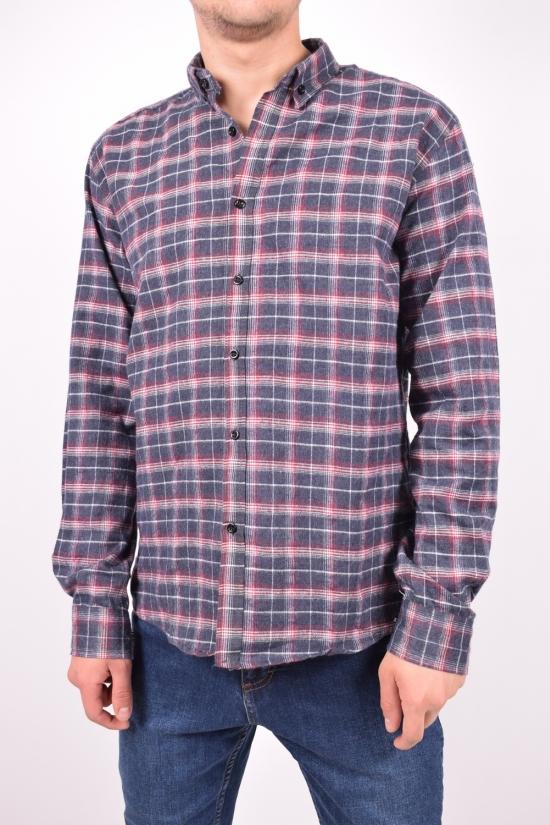 Рубашка мужская байковая (цв.т.синий/красный) YARGI Размеры в наличии : 38,40,42,44 арт.12.2