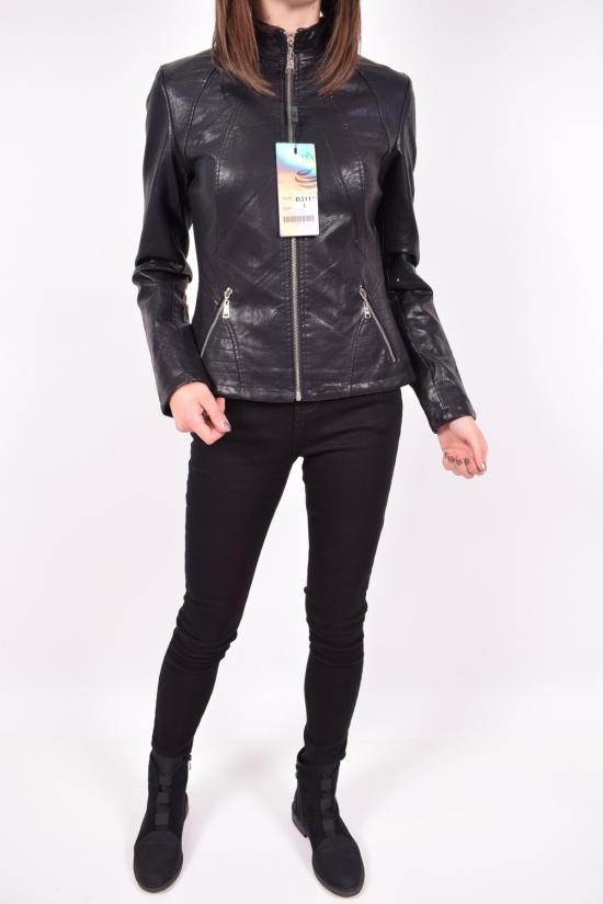 Куртка женская из кожезаменителя  демисезонная  (цв.черный) Размеры в наличии : 40,42,44,46,48 арт.B311