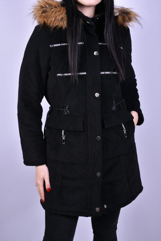 Куртка парка женская велюровая (цв.черный) демисезонная GREMONA Размеры в наличии : 42, 44, 46, 48 арт.3354