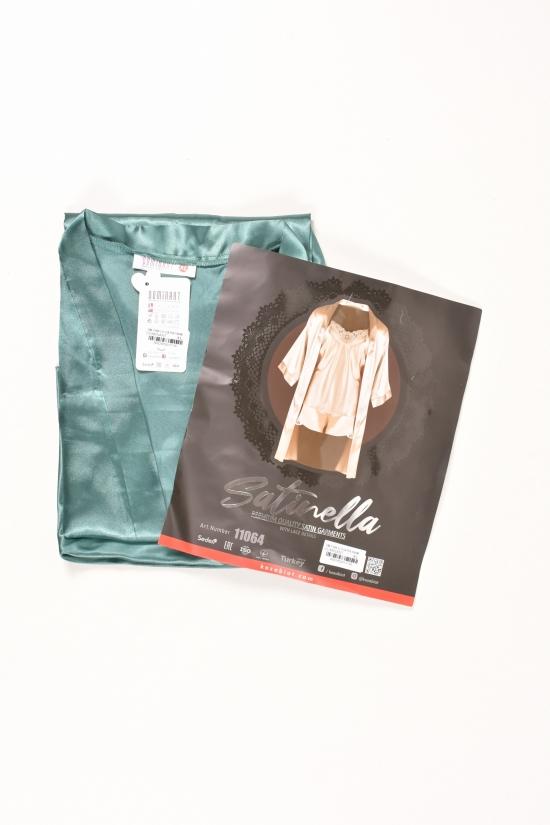 Комплект шелковый женский (цв.зелёный) (майка+шорты+халат) DEEP SLEEP Размеры в наличии : 44,46,48 арт.11064