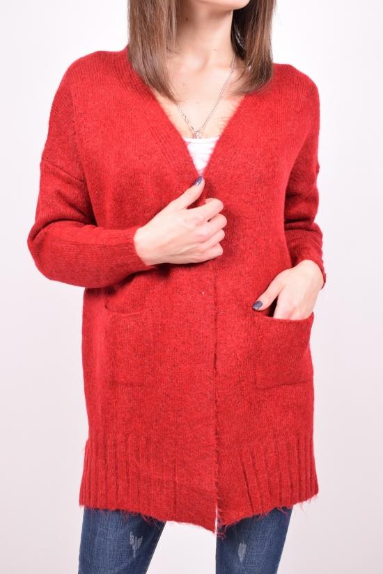 Кардиган женский вязаный (цв.бордовый) FIGO Размеры в наличии : 44, 46 арт.4154