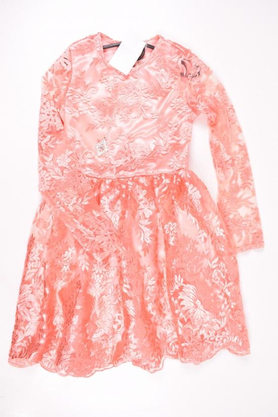 Платье для девочки комбинированное (цв.персиковый) Роста в наличии : 140,146,152 арт.28