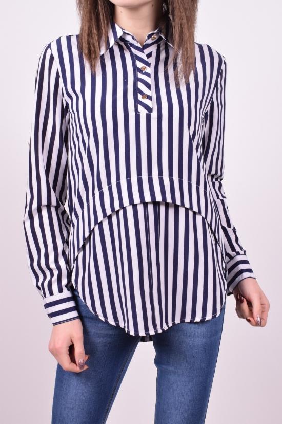 Рубашка женская стрейчевая (цв.белый/синий) Base Размеры в наличии : 42,44,46,48,50 арт.A1876