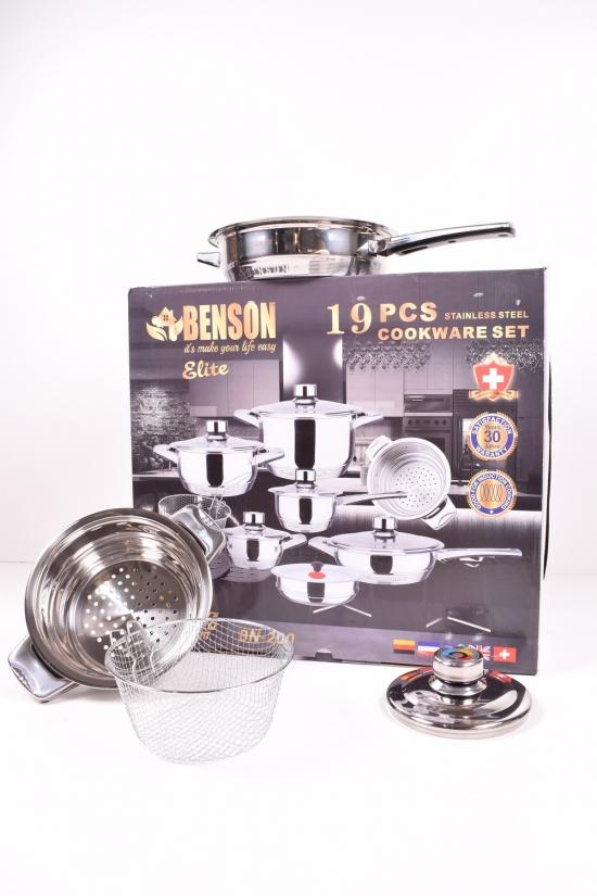 Набор посуды из 19 предметов  (16см/20см/24см+сковорода 24 см) Benson арт.BN-200