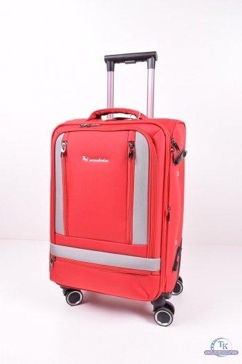 Чемодан на 4-х колёсах (цв.красный) тканевый маленький  №3 размер 35/50/18 см. арт.AB907