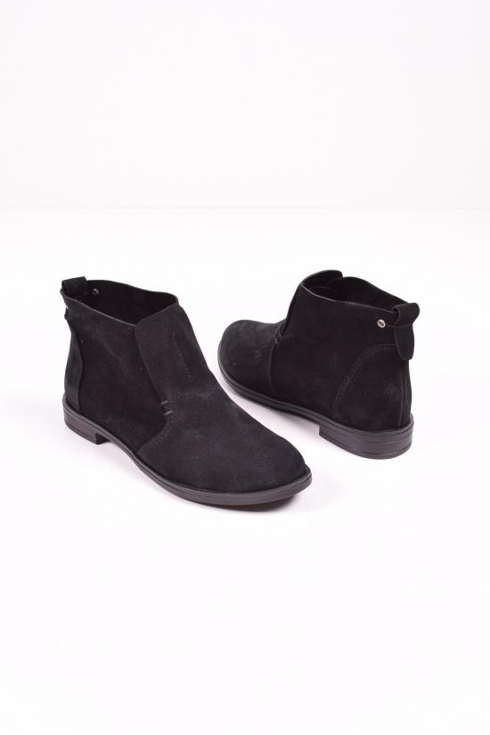 Ботинки женские (цв.черный) из натуральной замши демисезонные SAURINI Размеры в наличии : 36,37,39 арт.855