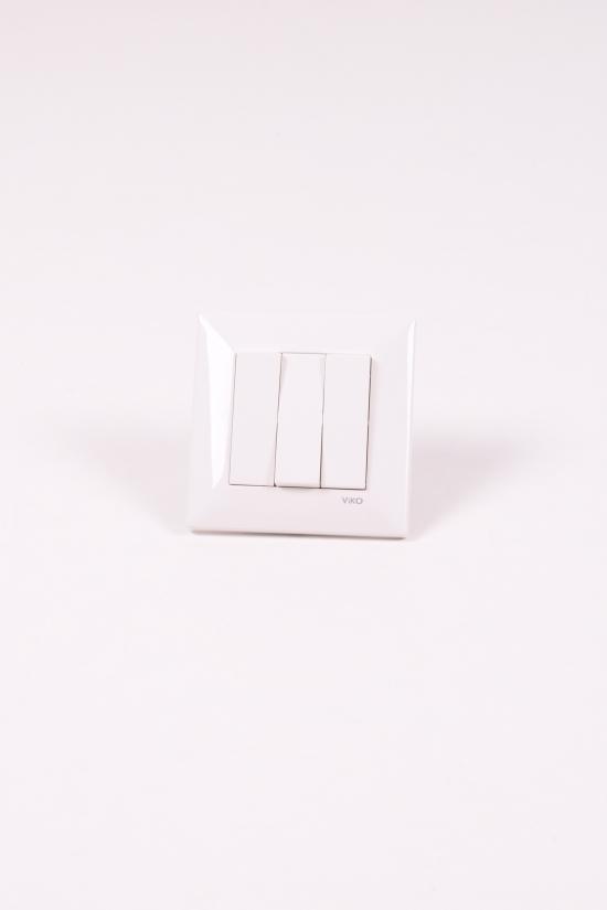 Выключатель трехклавишный белый Viko Meridian арт.90970068-WH