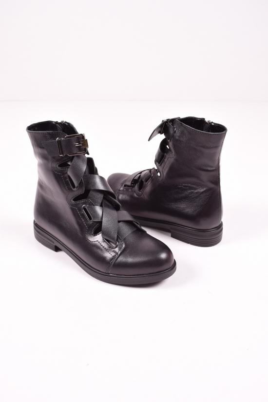 Ботинки женские демисезонные из натуральной кожи  (цв.черный)  OLLI Размеры в наличии : 36,37,38,40 арт.K-23-1055