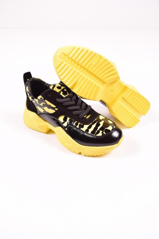 Кроссовки женские демисезонные( цв.черный/желтый)  из натуральной кожи  Blondi Размеры в наличии : 36,37,38,40 арт.071К
