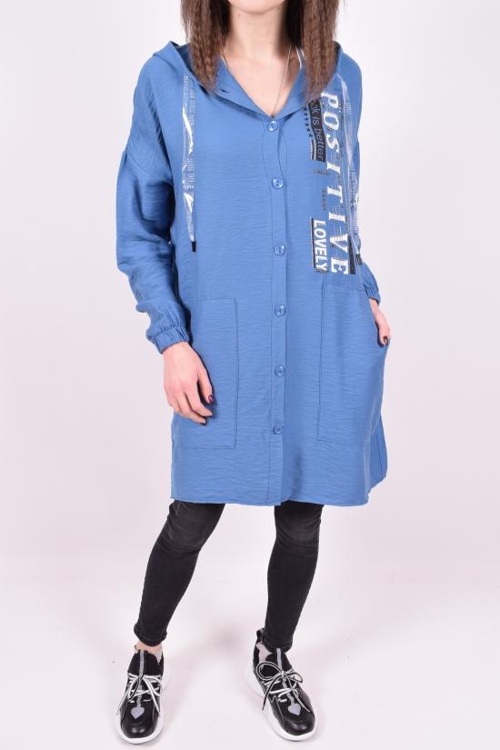 Рубашка-туника женская (цв.синий) La Roza Размеры в наличии : 42,44,46 арт.3019