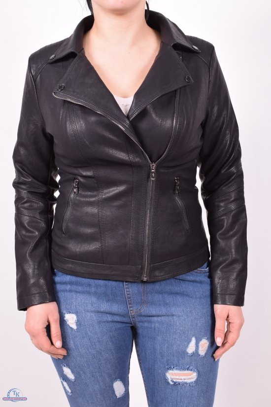Куртка женская (цв.черный) из кожзаменителя демисезонная Размеры в наличии : 40,42,44,46,48 арт.2023