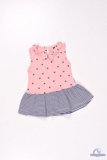 Платье  для девочки трикотажное (цв.персиковый) Роста в наличии : 74,80,86,92 арт.303631