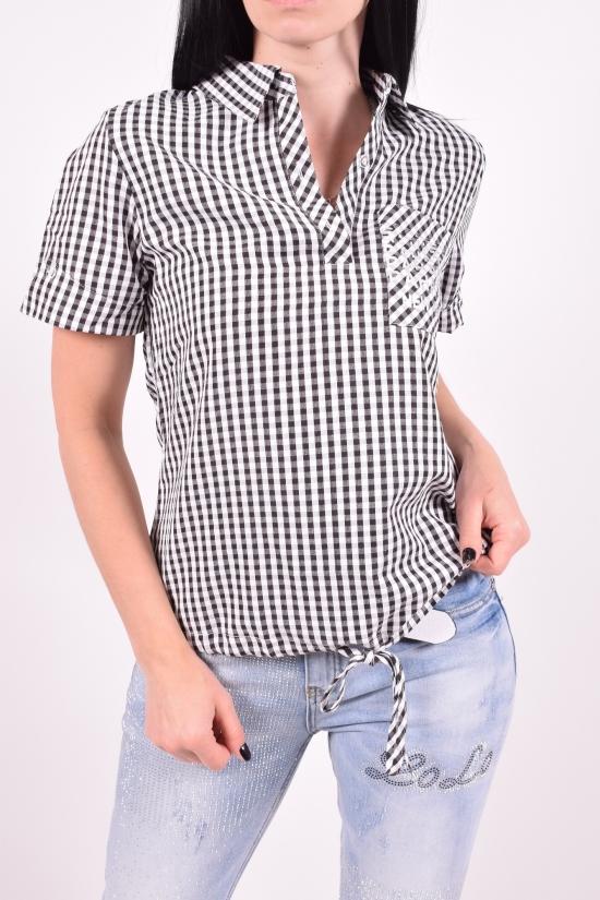 Рубашка женская (цв.чёрный) короткий рукав BASE Размеры в наличии : 40,42,44,46,48 арт.E1306