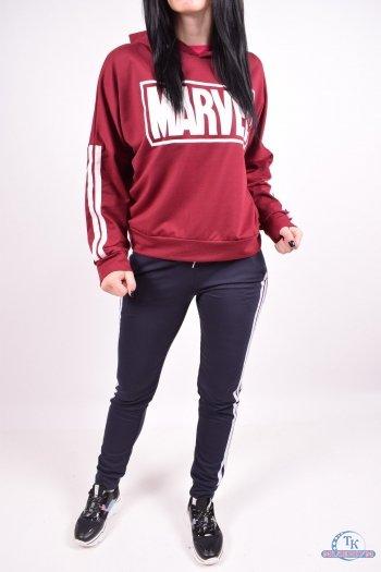 Костюм спортивный женский (цв.бордовый) трикотажный DEMAX (дефект цвета белой полосы) Размеры в наличии : 44,48 арт.357