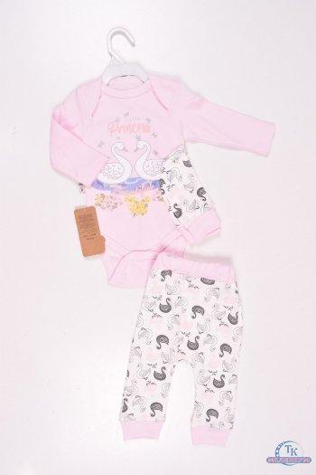 Комплект детский из 3-х предметов (цв.розовый) Размеры в наличии : 62,68,74 арт.305907