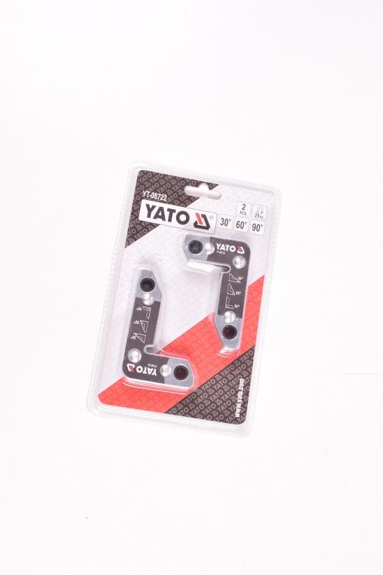 Угольники магнитные для сварки YATO (2шт.) сила притяжения магнита 25кг арт.YT-08722