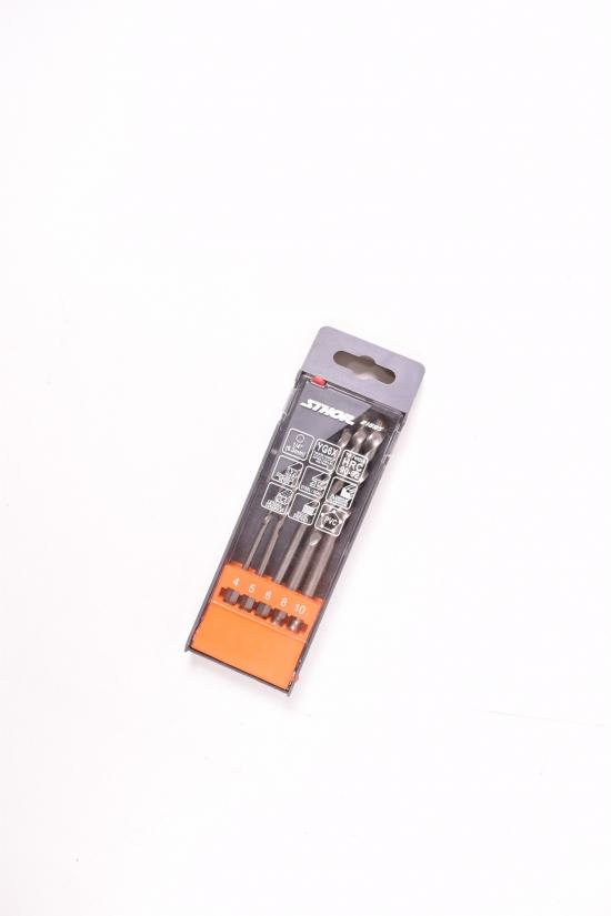"""Набор сверл универсальных SHORT YC6X с 6 гран. хвостовиком -1/4""""  """"4,5,6,8,10,мм арт.21695"""