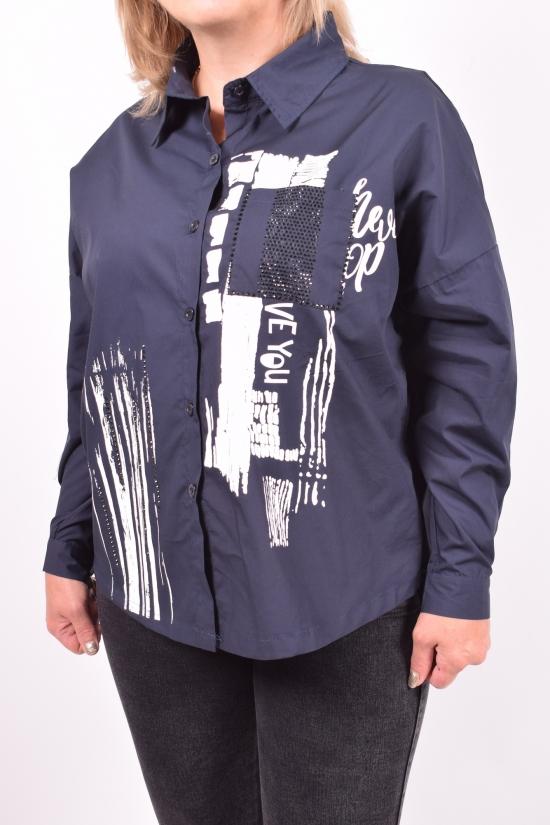 Рубашка женская (цв.т.синий) ANGORA Размеры в наличии : 48,50,52,54 арт.3063