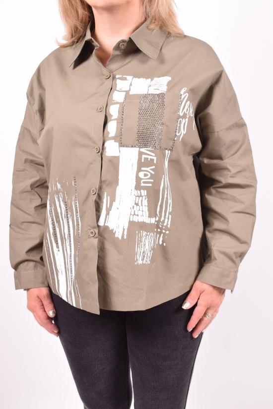 Рубашка женская (цв.хаки) ANGORA Размеры в наличии : 48,50,52,54 арт.3063