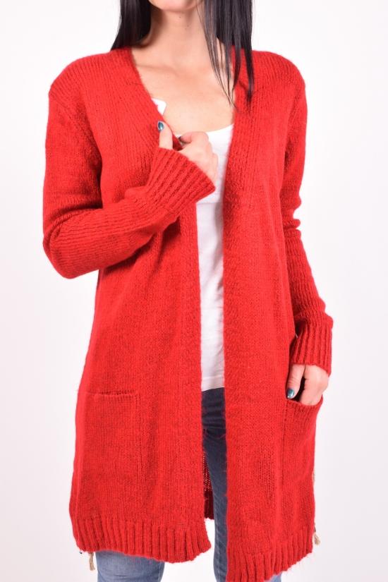 Кардиган женский вязаный (цв.бордовый)  HISSET размер 46-48 арт.HLK8310