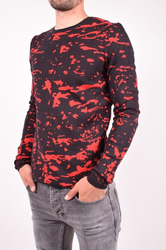 Свитер мужской (цв.черный/красный) тонкой вязки Lagos Размеры в наличии : 46,48,50,52 арт.2475