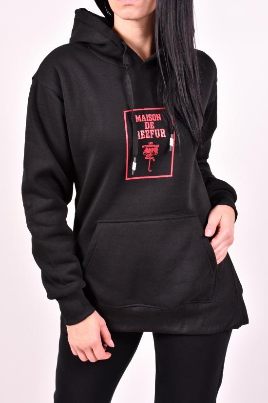 Худи женское (цв.черный) трикотажное на флисе  Godsend Размеры в наличии : 44,46 арт.E-8981