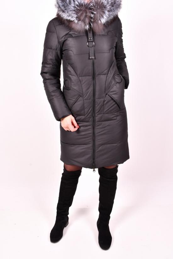 Пальто женское зимнее из плащевки (цв.чёрный) с натуральной опушкой Liliya Размеры в наличии : 42,44 арт.883