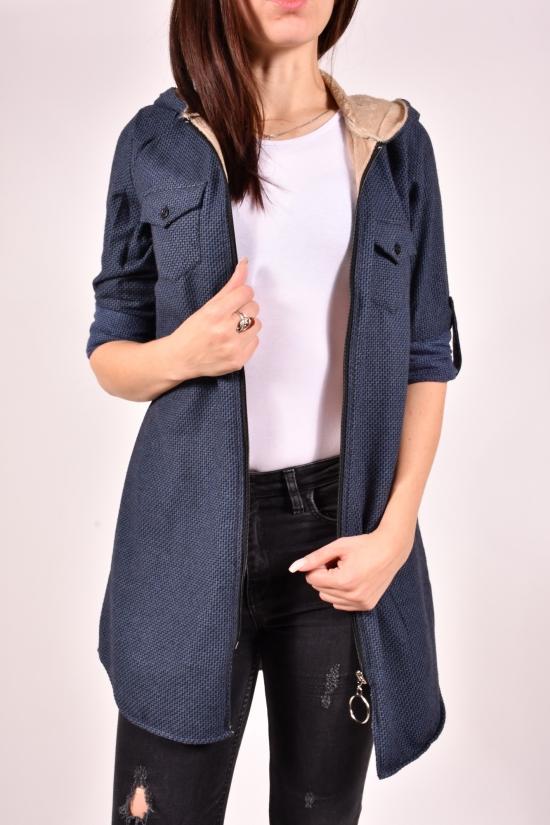 Рубашка-туника женская кашемировая на меху (цв.т.синий) Rimoda Размеры в наличии : 40,42,46 арт.7615