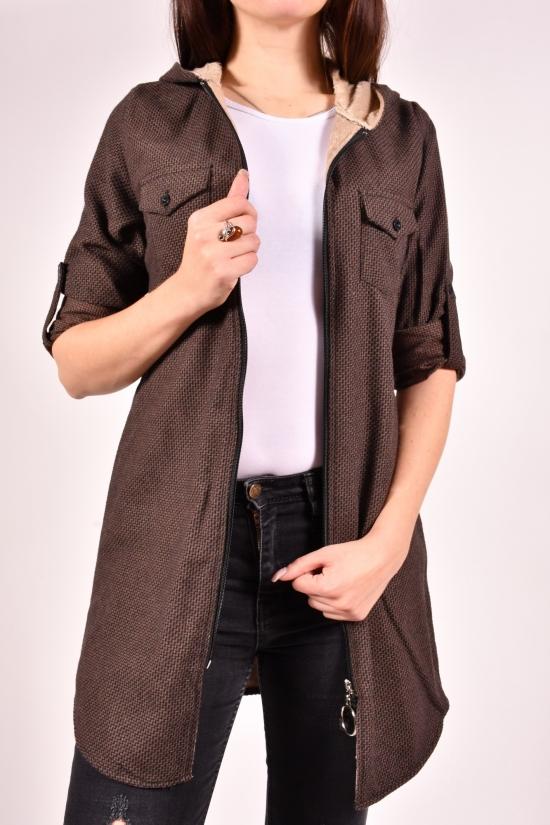 Рубашка-туника женская кашемировая на меху (цв.коричневый) Rimoda Размеры в наличии : 40,42,44,46 арт.7615