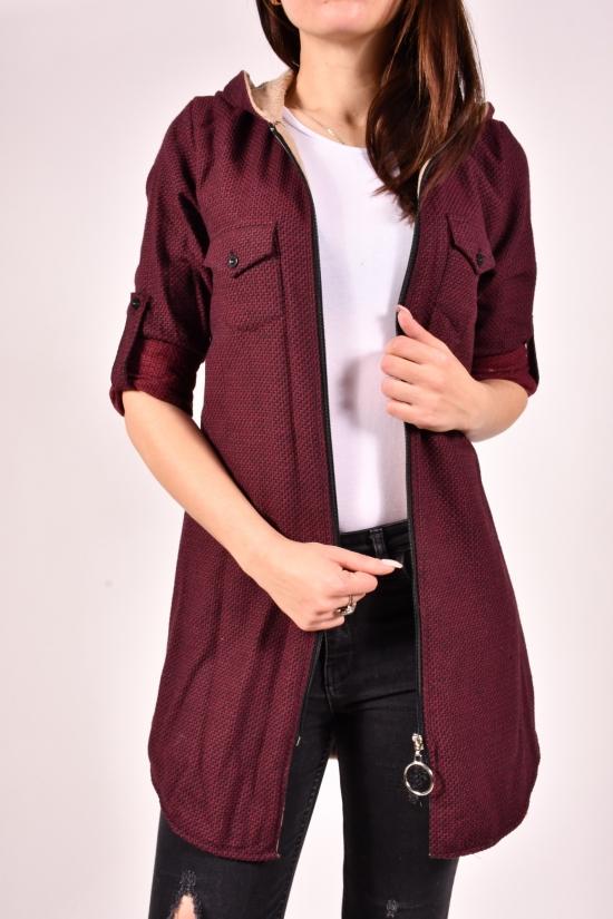 Рубашка-туника женская кашемировая на меху (цв.бордовый) Rimoda Размеры в наличии : 40,42,46 арт.7615