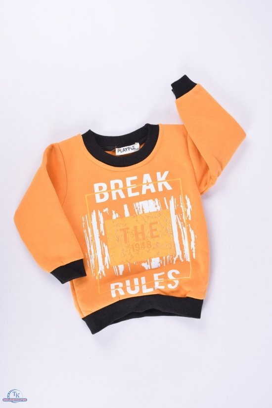 Батник для мальчика на флисе (цв.оранжевый) PLAYFULL Роста в наличии : 80,86,92,98 арт.1-4