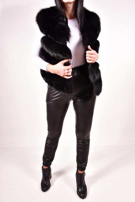 Жилетка женская  (цв.черный) мех песец длина 45 см Размеры в наличии : 46, 48 арт.141220