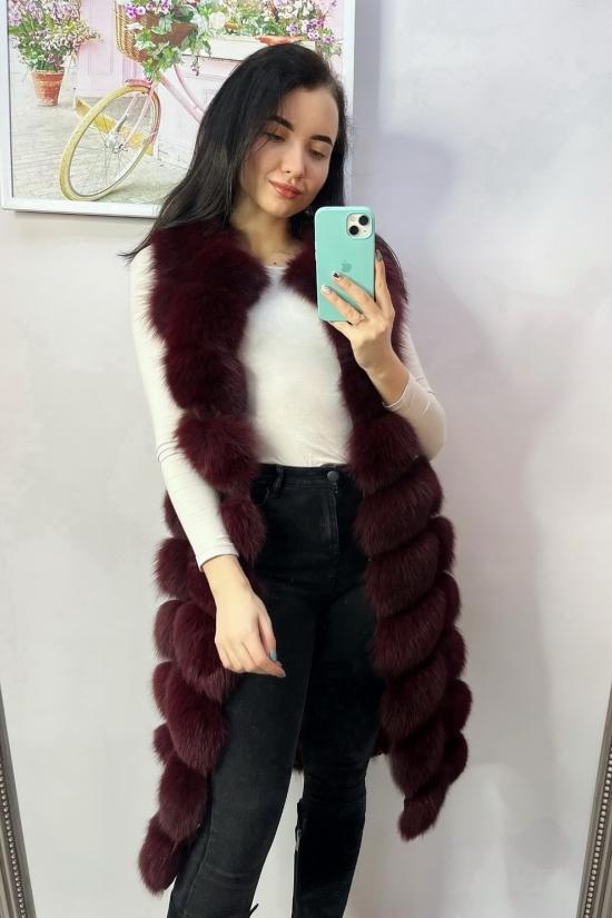 Жилетка женская  (цв.бордовый) мех песец длина 100 см Размер в наличии : 40 арт.MJ38