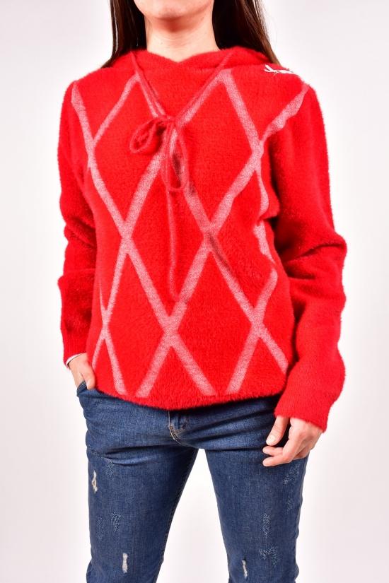 Кофта  женская (альпака) ANNE (цв.красный) Размеры в наличии : 46, 48 арт.A481