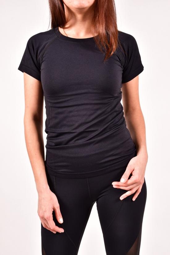 Футболка женская эластиковая (цв.черный) Размеры в наличии : 42,44,46 арт.1152
