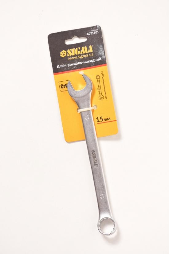 Ключ рожково- накидной 15мм CrV satine с подвесом арт.6021601