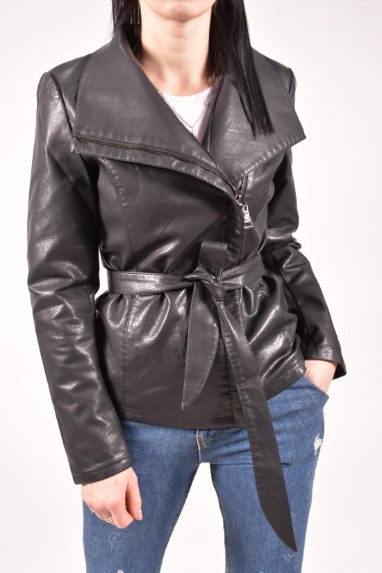 Куртка женская (цв.черный) из кожзаменителя демисезонная Размер в наличии : 44 арт.H-127