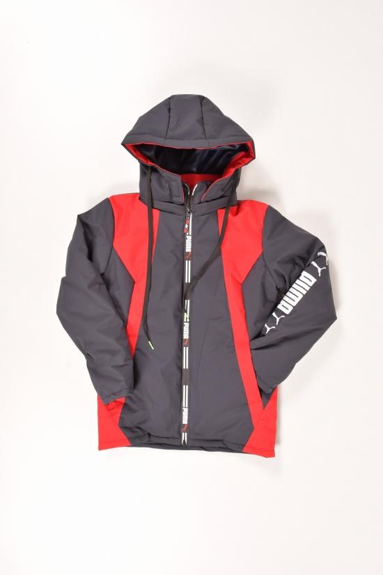 Куртка для мальчика  (цв.т.синий/красный) из плащевки демисезонная PUMA Роста в наличии : 128,134,152 арт.001