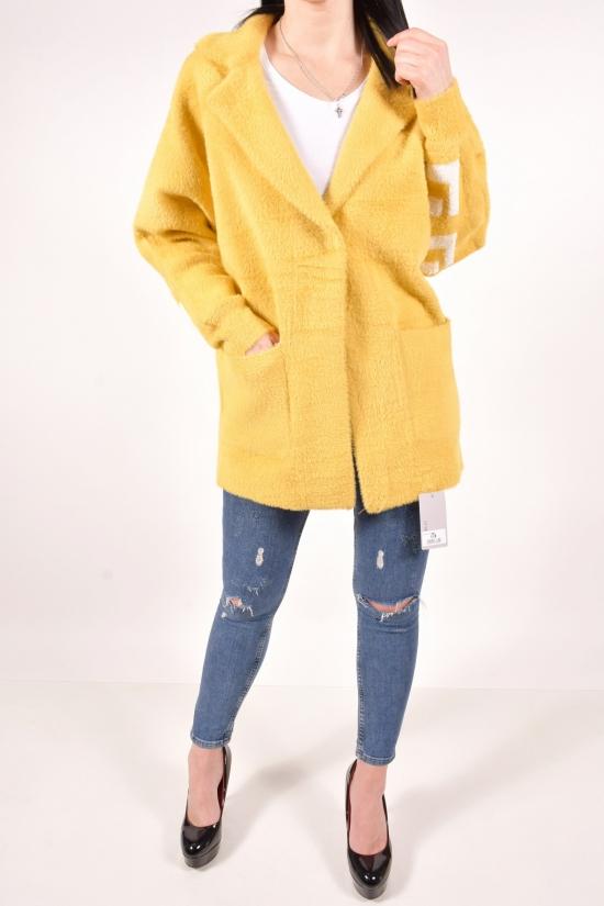 Пальто женское из шерсти альпака  (цв.горчичный) размер 50-52 арт.20858