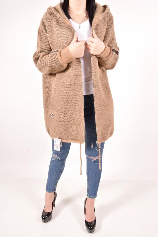Кофта  женская из шерсти альпака  (цв.капучино) размер 50-52 арт.82085