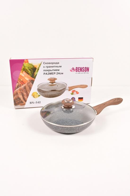 Сковорода с крышкой (гранитное покрытие d-24см) Benson арт.BN-542
